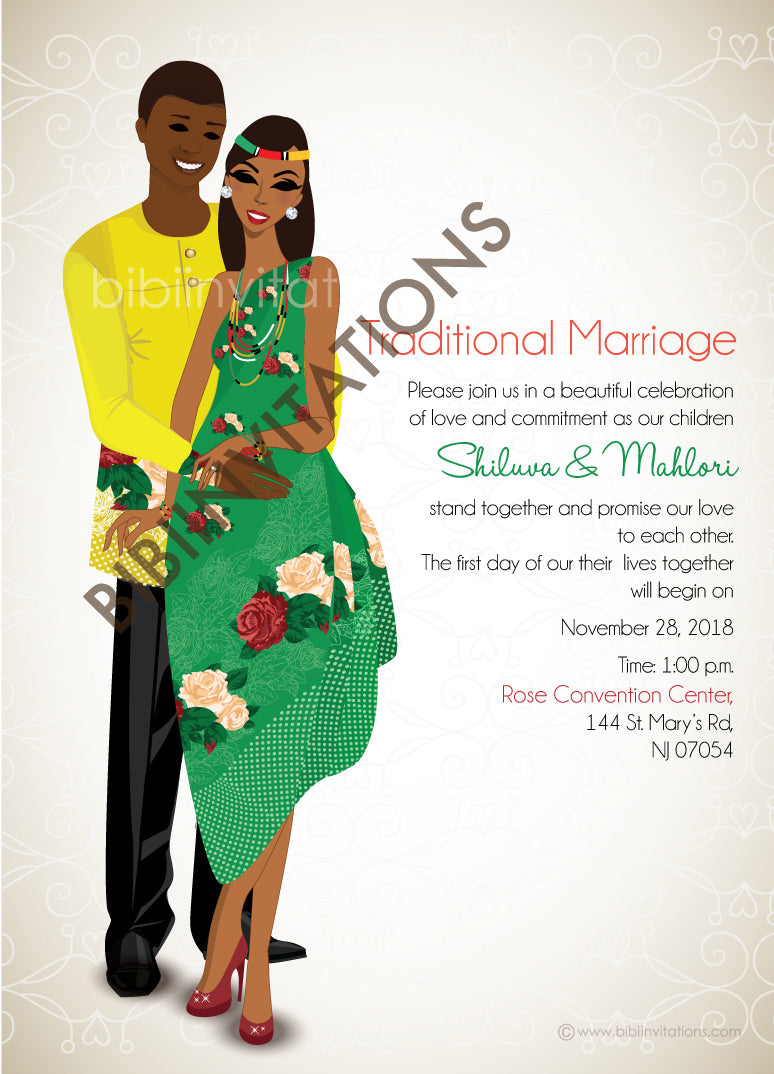 Rhandzu Tsonga South African Traditional Wedding Invitation