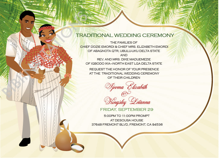 Ugo Nwayi Delta Igbo Nigerian Traditional Wedding Invitation