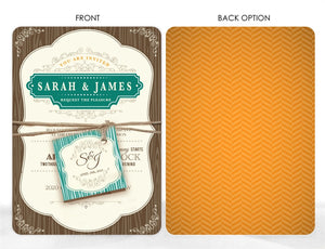 RUSTIC VINTAGE FRAME WEDDING INVITATION