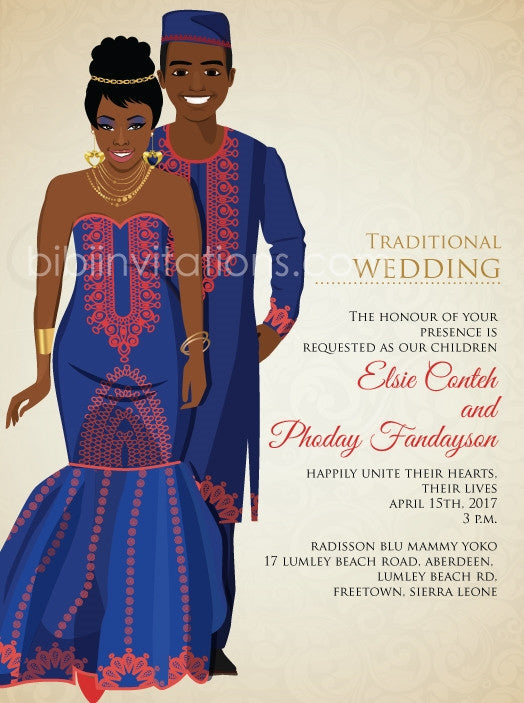 Ar Lek You Sierra Leone Traditional Wedding Invitation