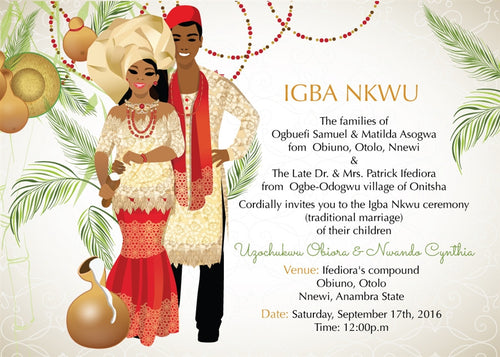 Di'm Oma Nigerian Igbo Traditional Wedding Invitation