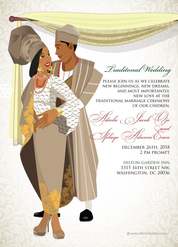 Ko-ri-ko-sun mi Yoruba Nigerian Traditional Wedding Invitation