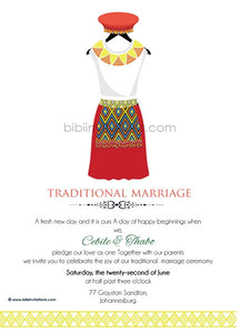 BUHLE Zulu Umembeso Tradtional Wedding Invitation
