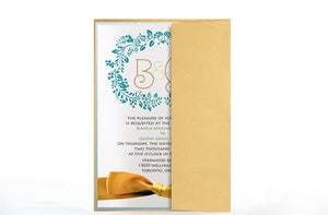 GARDEN MONOGRAM WREATH WEDDING INVITATION