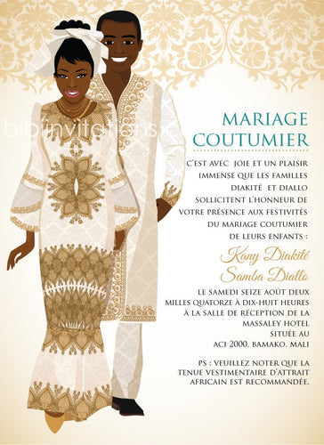 M'bi Fe Mali Traditional Wedding Invitation