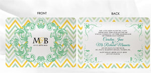 VINTAGE CHEVRON WEDDING INVITATION
