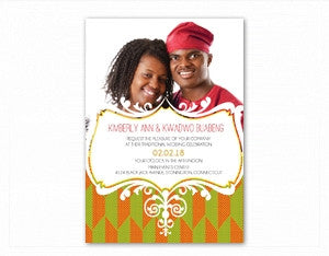 ME LO WO African Kente Wedding Invitation
