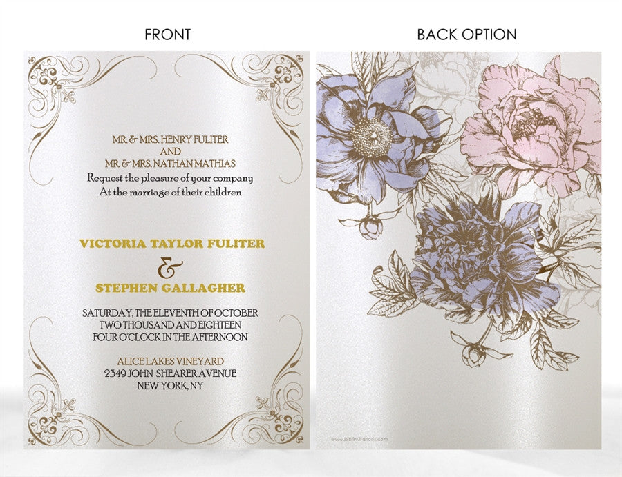 PEONY WEDDING INVITATION OPTION 2