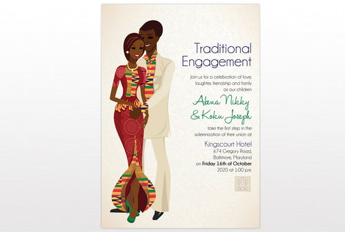 Akoma Da Akoma So Ghanaian Traditional Wedding Invitation