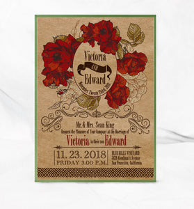 VINTAGE HIBISCUS WEDDING INVITATION