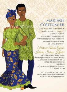 Mon Tresor Togo Traditional Wedding Invitation