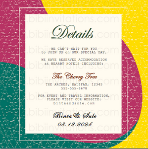 Red, Yellow and Green DIY Downloadable Template Wedding Invitation