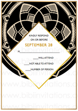 Load image into Gallery viewer, Black Circle DIY Downloadable Template Wedding Invitation RSVP