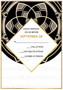 Black Circle DIY Downloadable Template Wedding Invitation RSVP