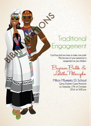 Esihle Xhosa South African Traditional Wedding Invitation