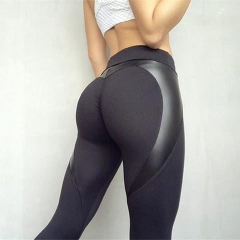 Black Heart Leather Yoga Pants - Yoga Pants - Yoga Pants Distro - Best Discount Yoga Pants