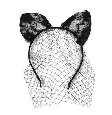 Costume Party Lace Cat Ears With Veil