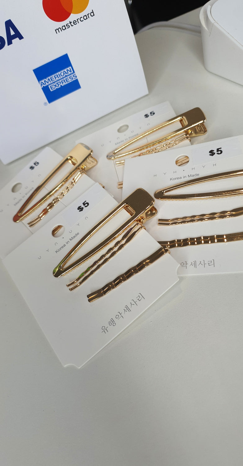 Gold Hair Pin Set 5pc