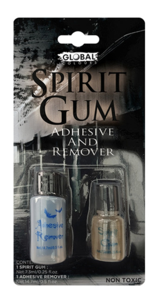 Global Colours Costume Spirit Gum Adhesive & Remover Set (Make Up Special FX Non-Toxic)