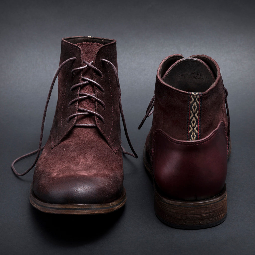 B.Red - suede leather boots