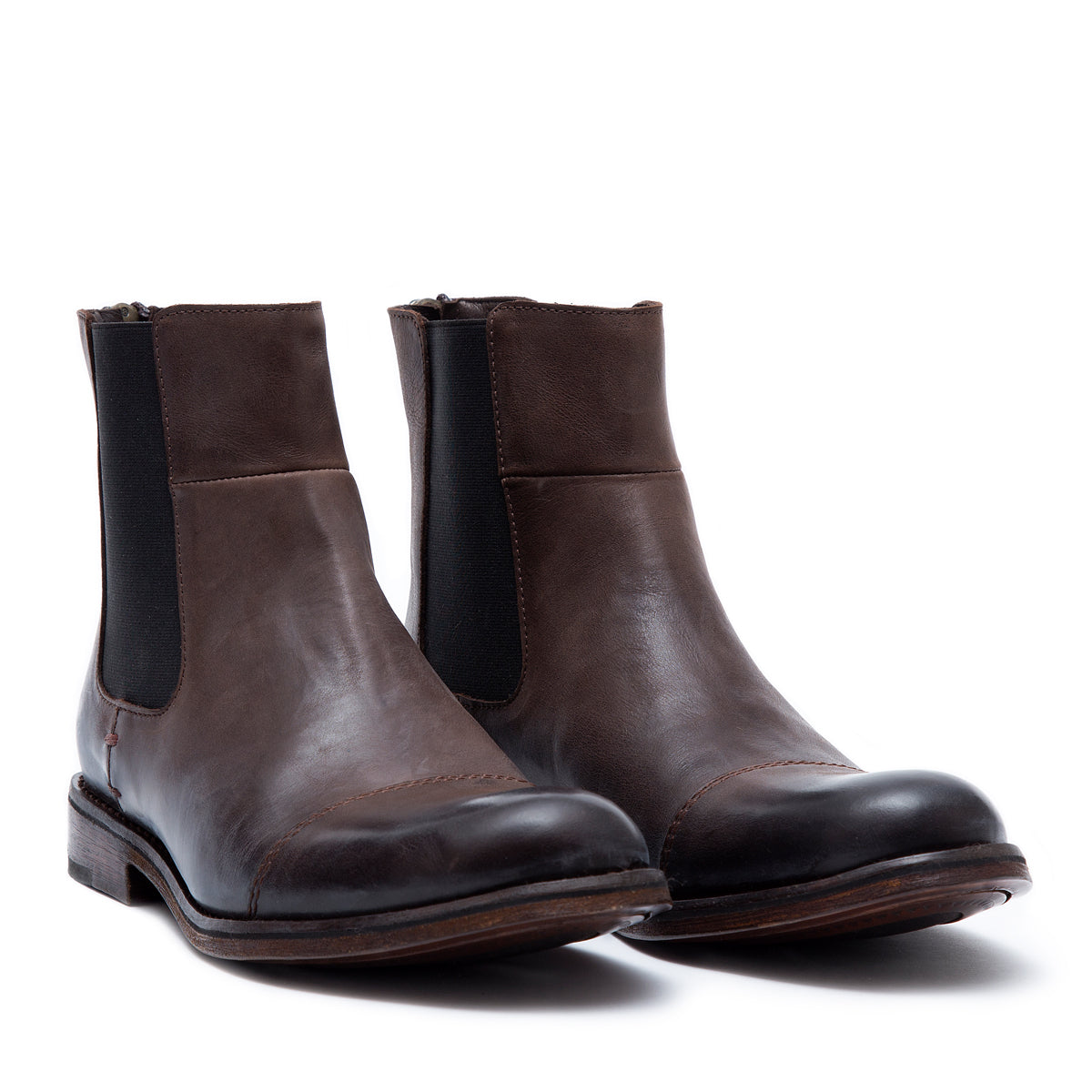 Chelsea Zipper Brown - leather boots