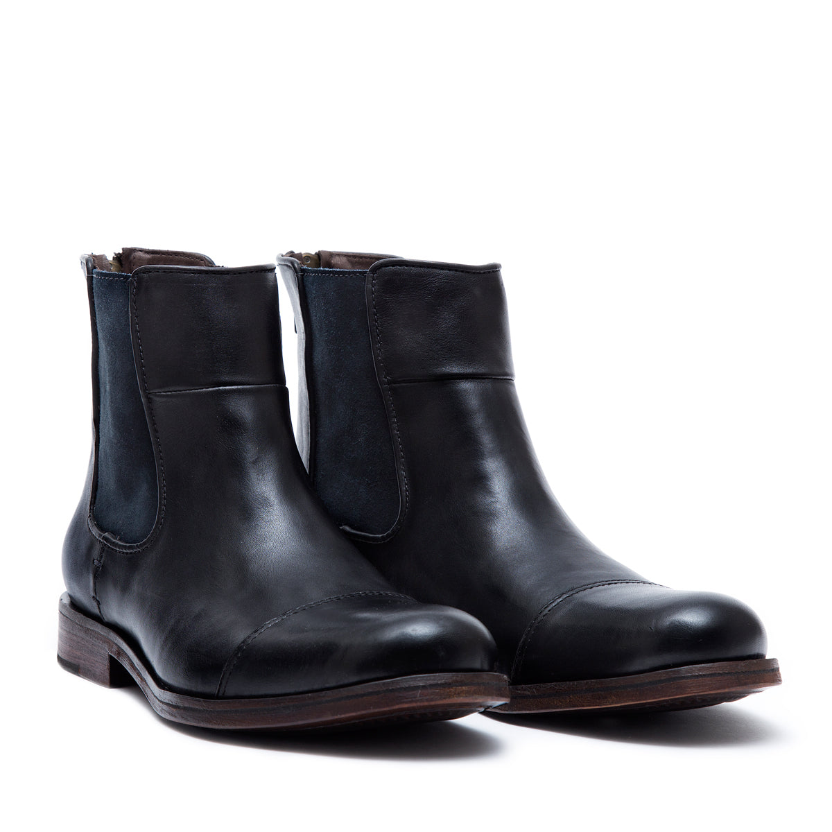 Chelsea Zipper Black - leather boots