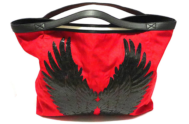 "TOTE Bag ""Black Angel Wings"" Red"