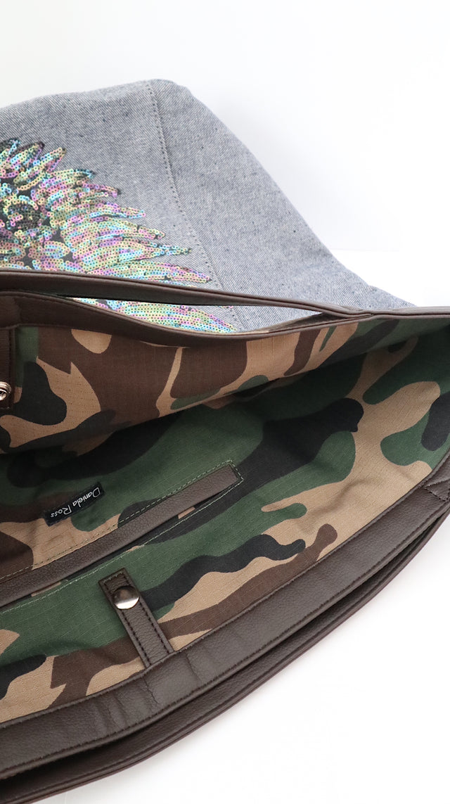"TOTE Bag Grey Denim ""Iridescent Wings"" Camo"