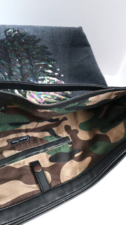 "TOTE Bag Denim Green Camo ""Angel Tornasol Wings"""