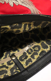 "Travel TOTE Bag ""Gold Angel Wings"" Animal Print Red"