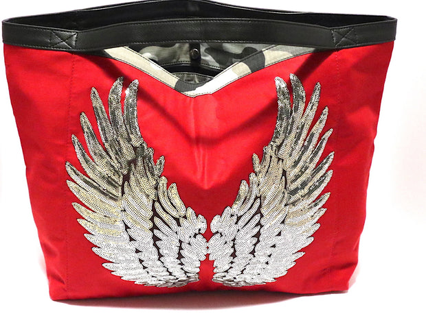 "TOTE Bag ""Silver Angel Wings"" Red"