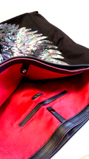 "Black TOTE Bag ""Iridescent Angel Wings"""