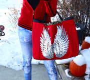 "Animal Print TOTE Bag ""Silver Angel Wings"" Red"
