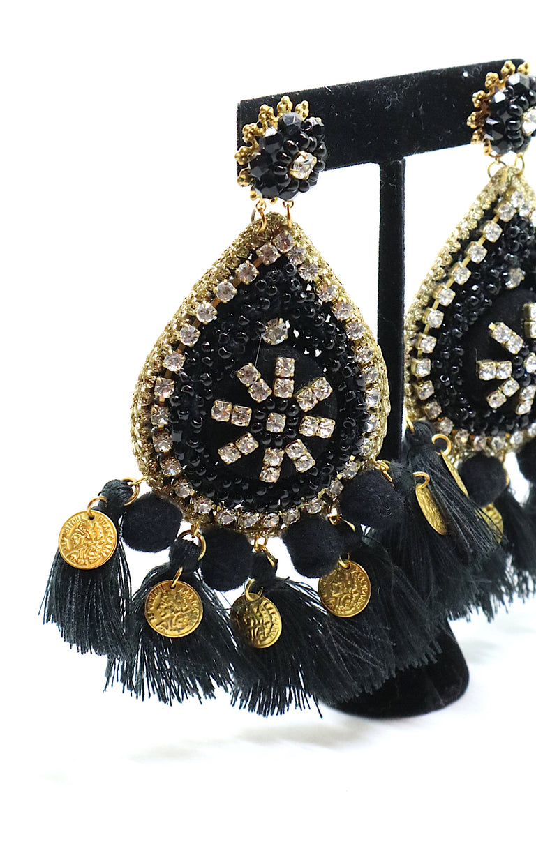 Drop Earrings Rhinestone Beads Black-Gold by Carolina Damas