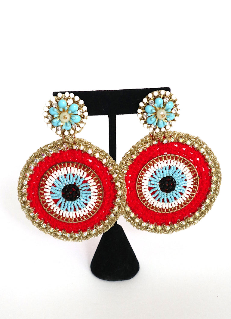 Evil Eye Red Round Earrings