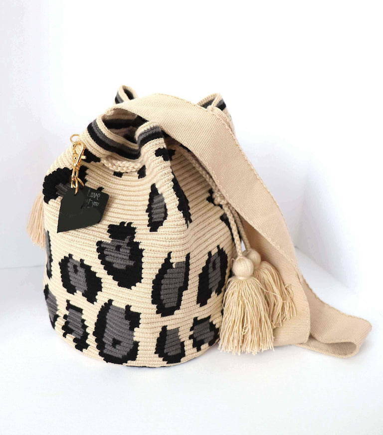 Wayuu Bag Grey Animal Print