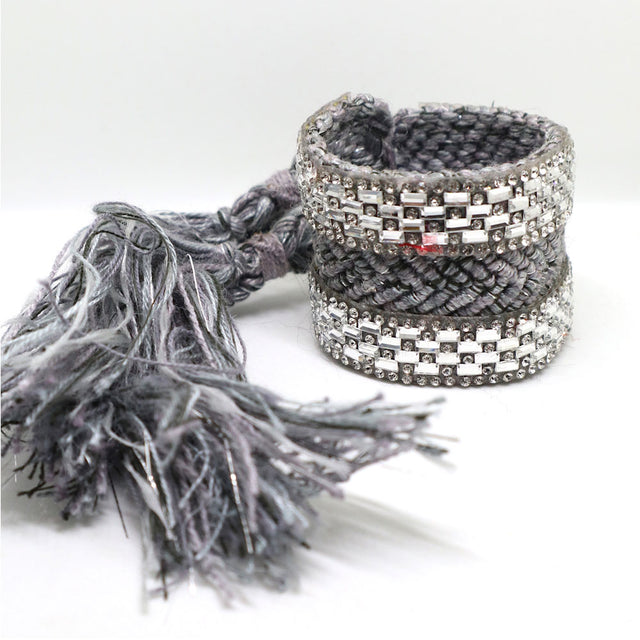 "Gray ""Double Stripe"" Woven Bracelet Cuff"