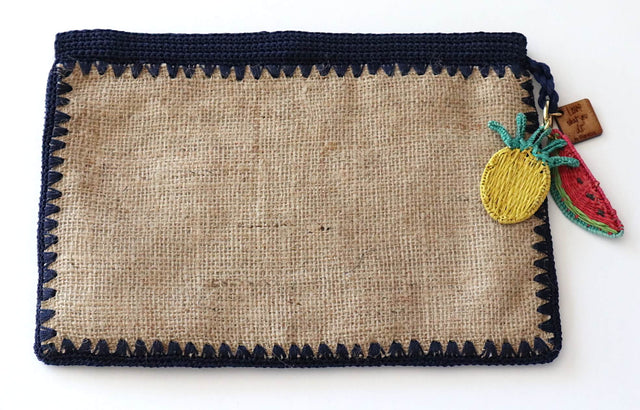 Jute Flat Crochet Clutch-Navy