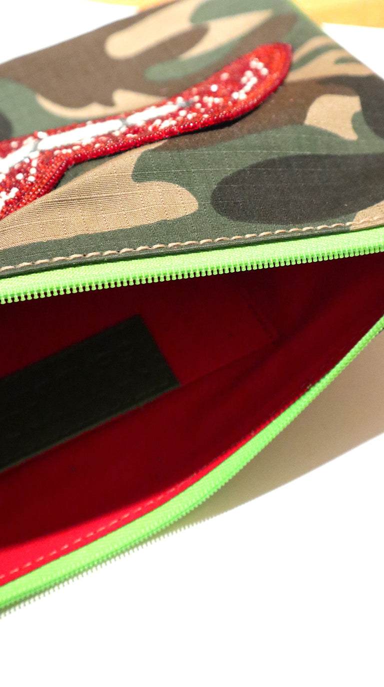 Green Camo Lipps Small Clutch