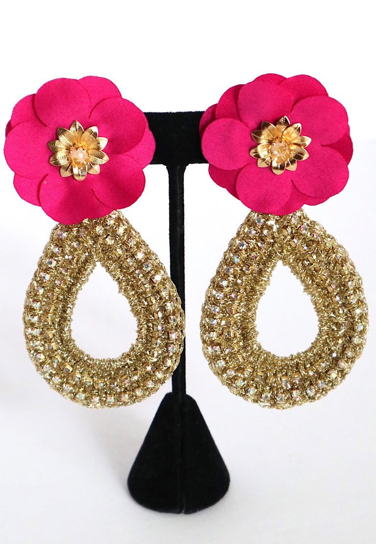 Oval Gold Fuschia Earrings