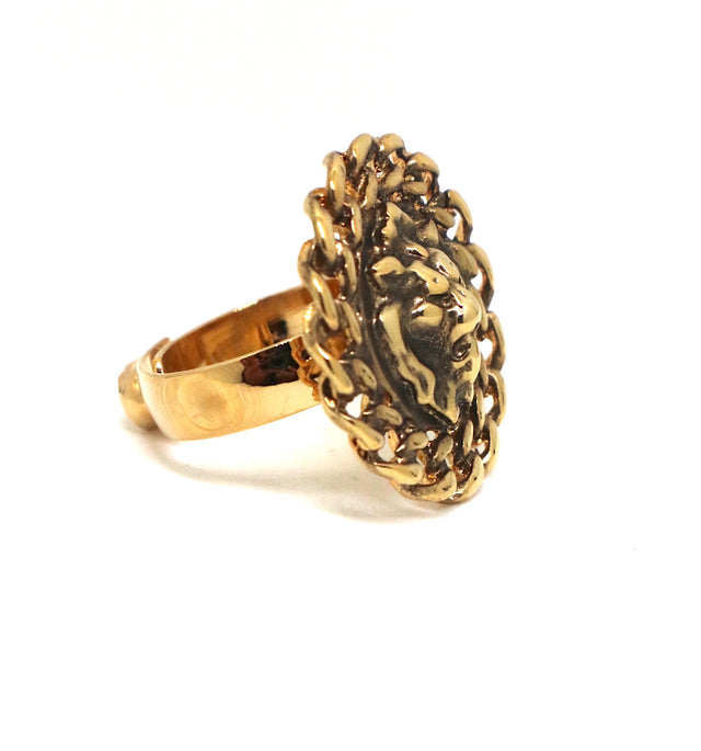 Lion Adjustable Gold Plated-Nikel Ring