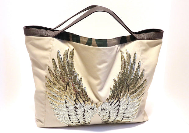"Travel TOTE Bag ""Angel Wings"" BEIGE by Daniela Ross"