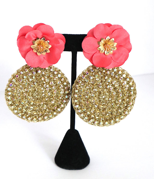 Gold Round Coral Flower Earrings