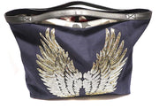 "TOTE Bag ""Gold Angel Wings"" Navy"