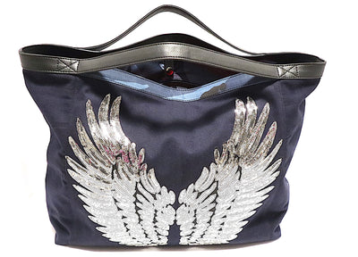 "TOTE Bag ""Silver Angel Wings"" Navy"