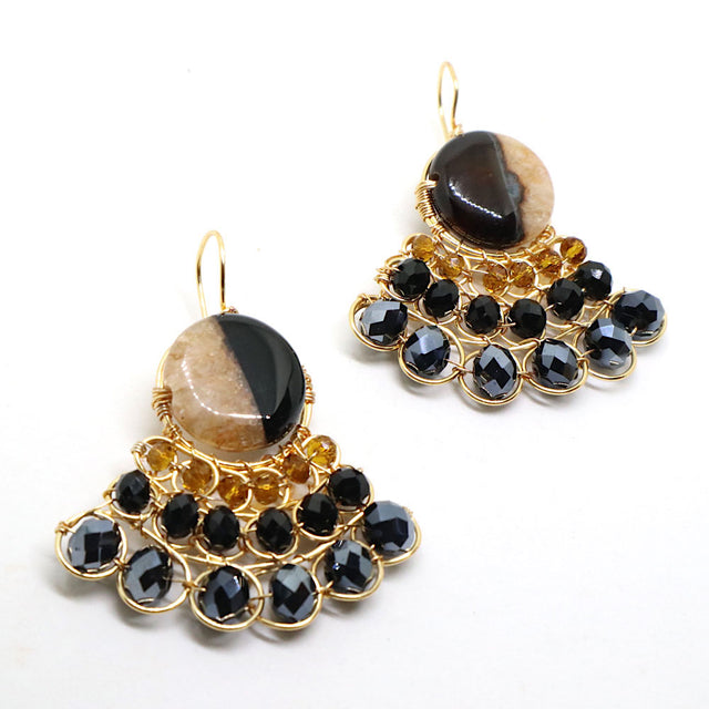 Gold Plated Agate Drop Earrings