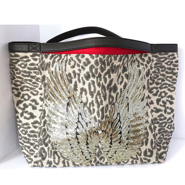 "Animal Print TOTE Bag ""Gold Angel Wings"""