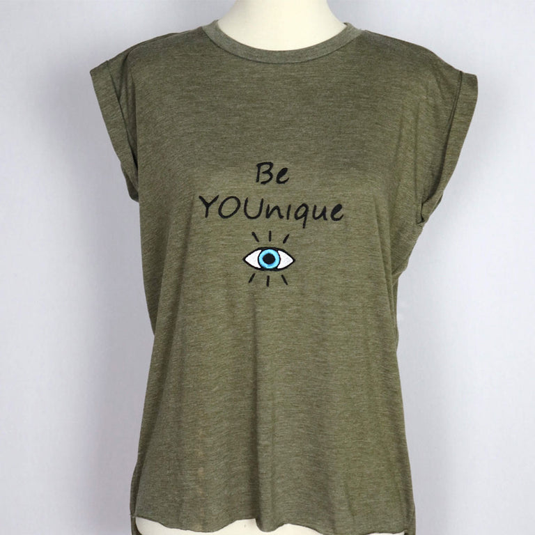 BE YOUNIQUE Embroidered Flowy Muscle T-Shirt with Rolled Cuff-Olive Green