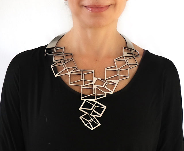 Leather Statement Adjustable Silver Necklace