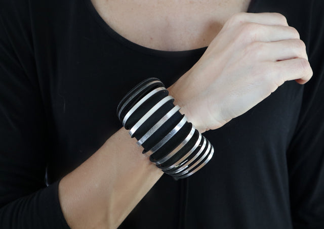 Leather Black Silver Stripes Adjustable Bracelet